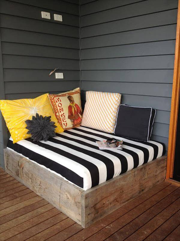 DIY porch bed with cushion and pillow set