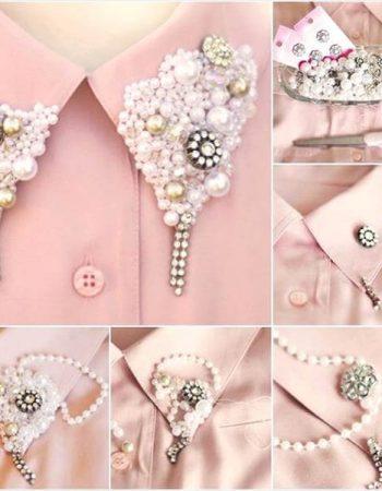 diy collar necklace shirt pearls