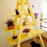 recycled ladder potting rack