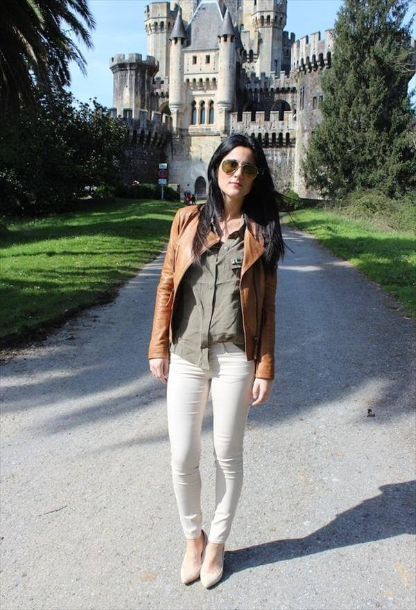 modern leather brown jacket fashion for girls