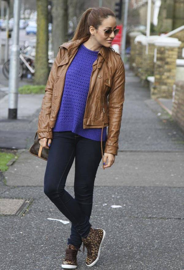 modern trend of brown leather jackets for women