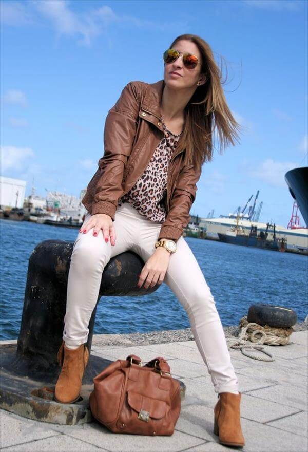 latest leather brown jacket for woman