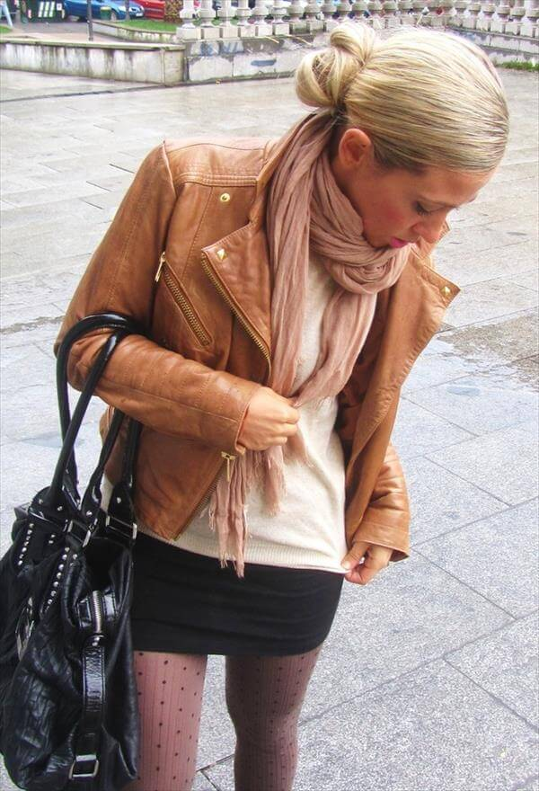 short leather brown jacket for ladies