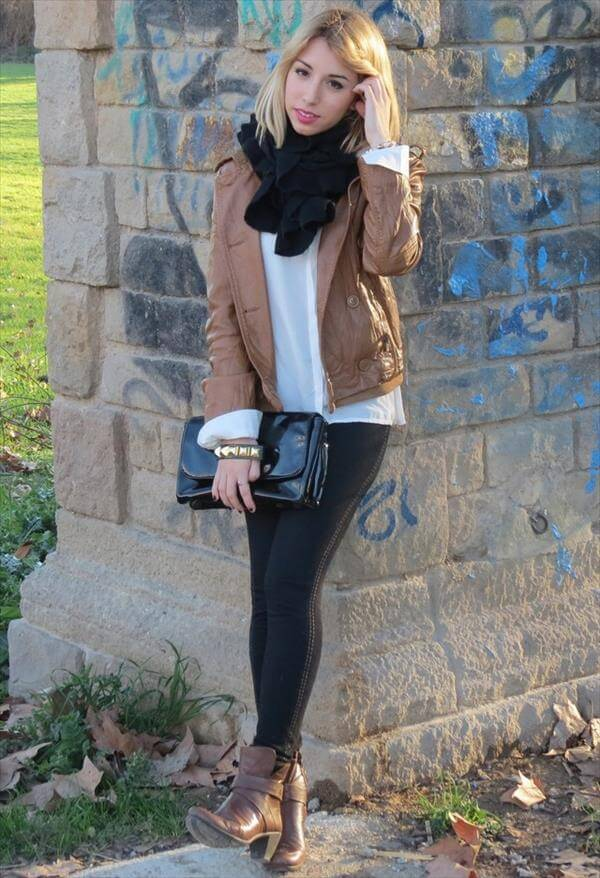 woman brown leather jackets