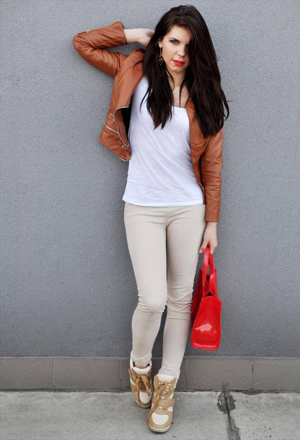latest woman brown leather jacket trend