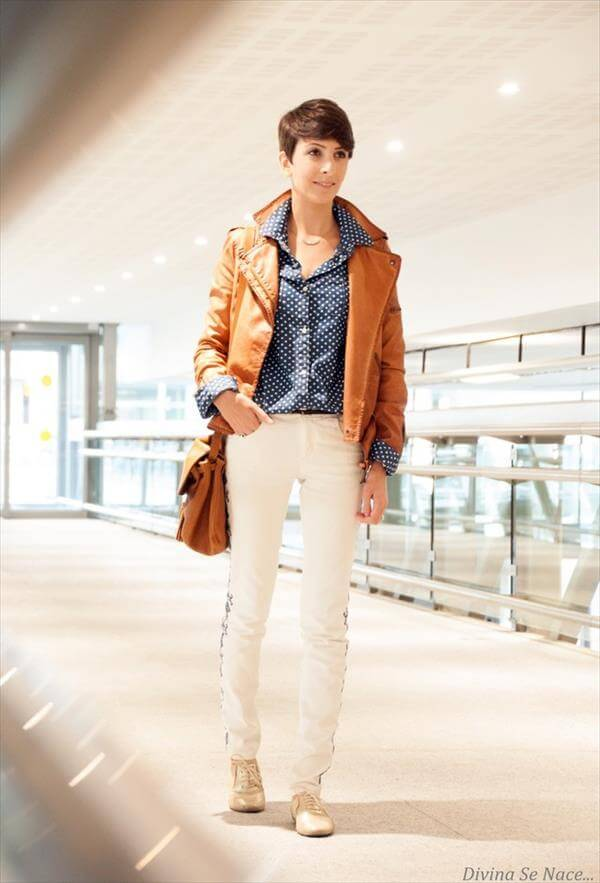 current women leather brown jacket fashion