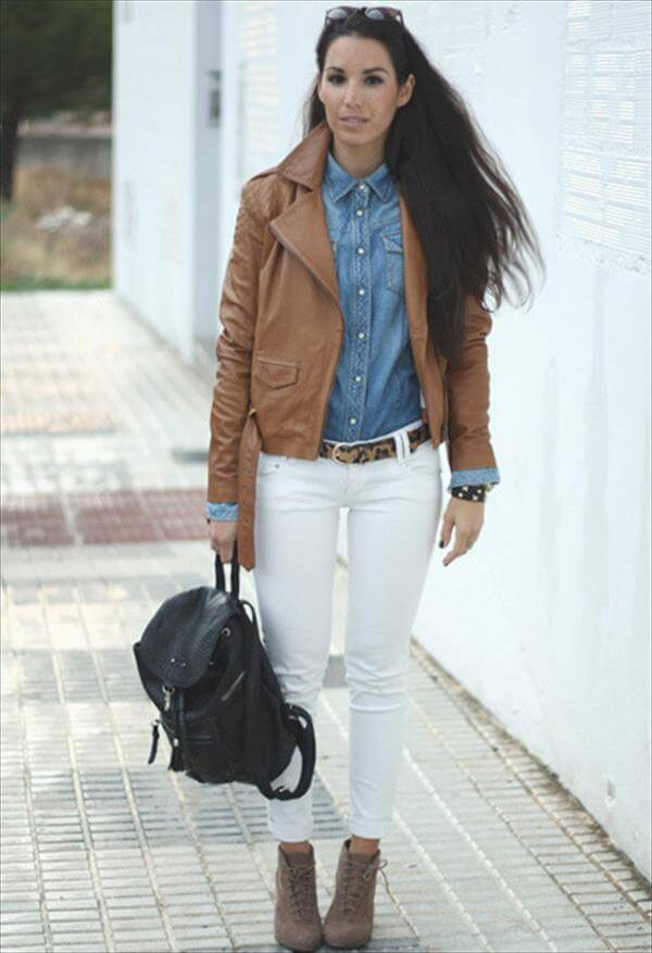 leather brown jacket for girls
