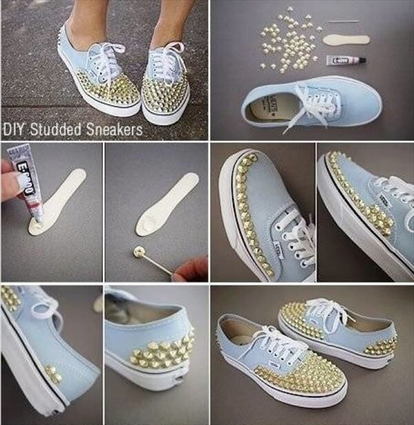 diy hand studded sneakers