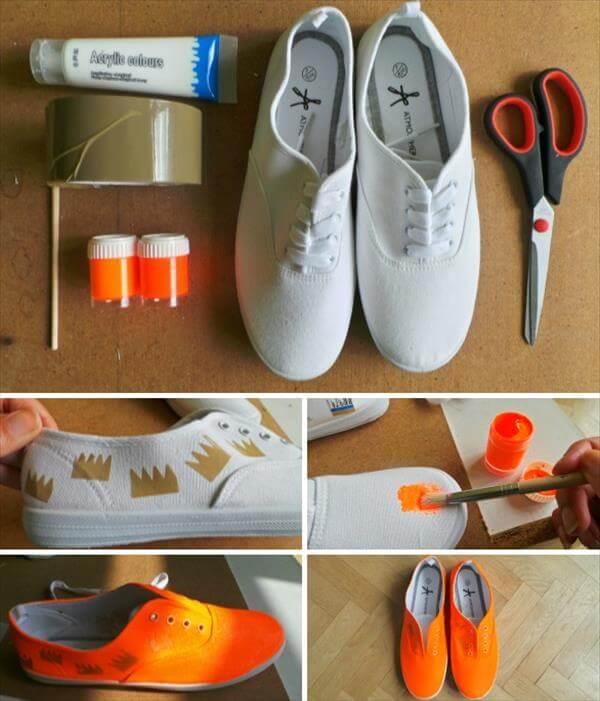 diy self painted neon orange sneakers