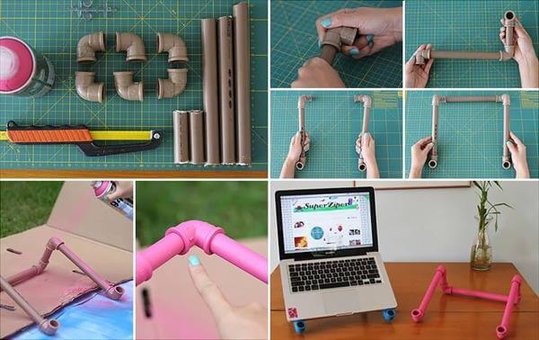diy PVC pipe notebook stand