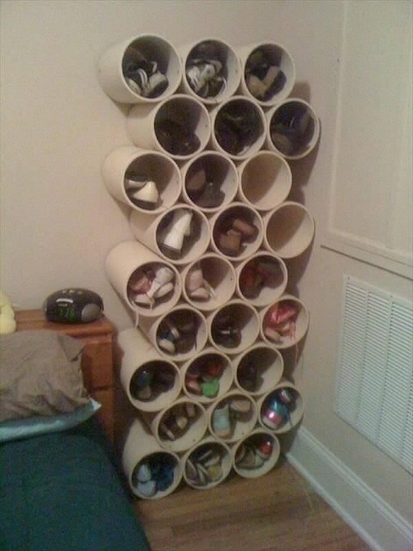 diy PVC pipe shoes storage idea