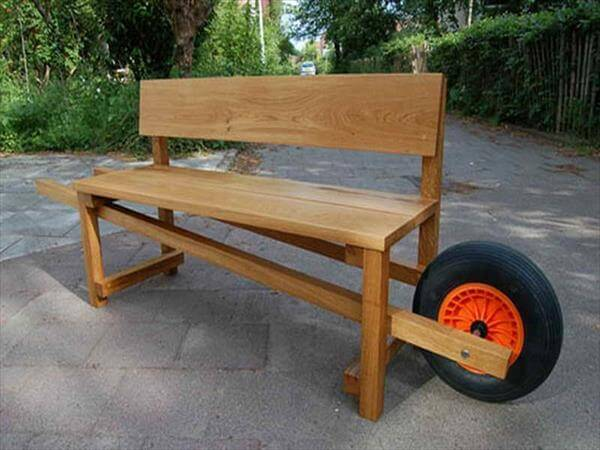 diy recycled bench with wheel
