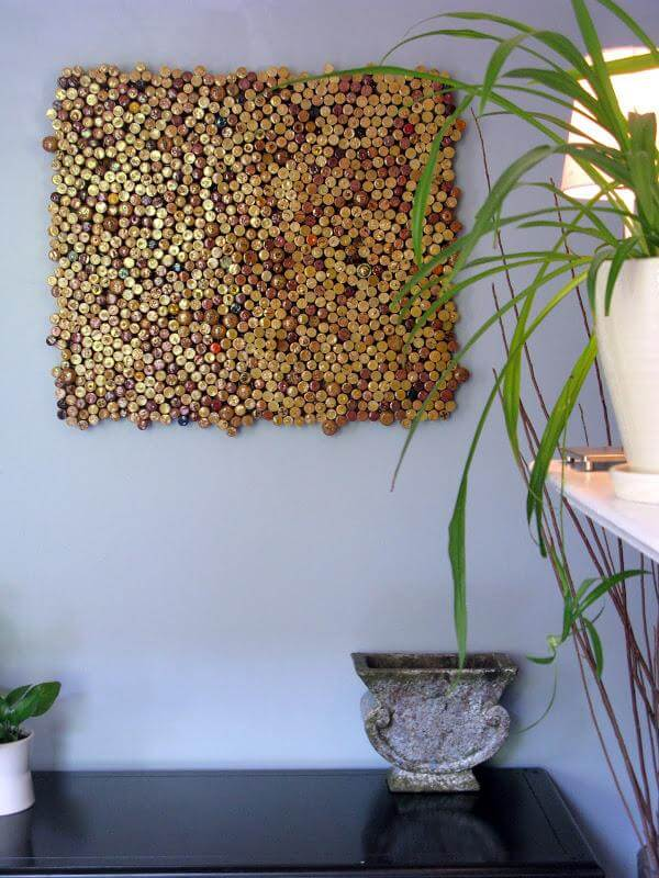 diy self made cork wall art