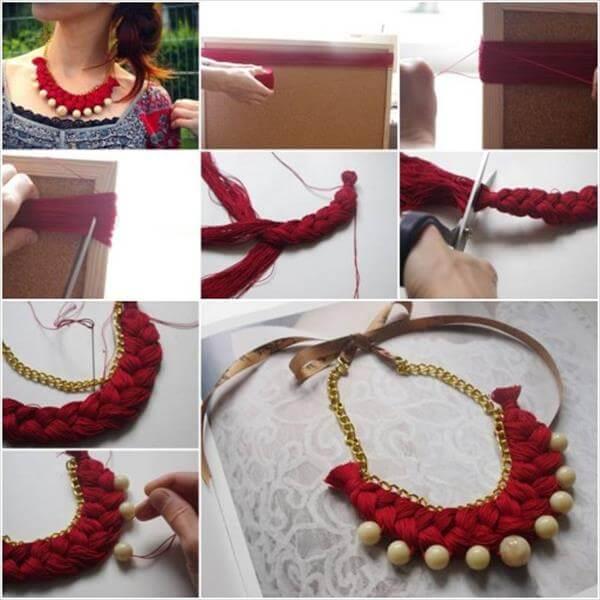 diy braided gold beaded necklace idea
