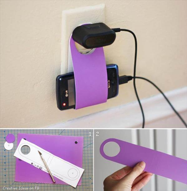 hancrafted cardboard mobile charger holder