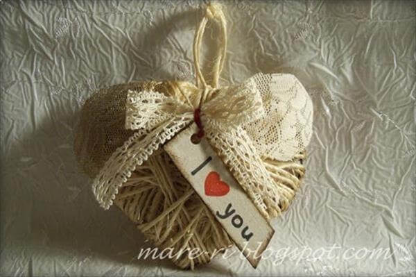 homely prepared cardboard and rope heart