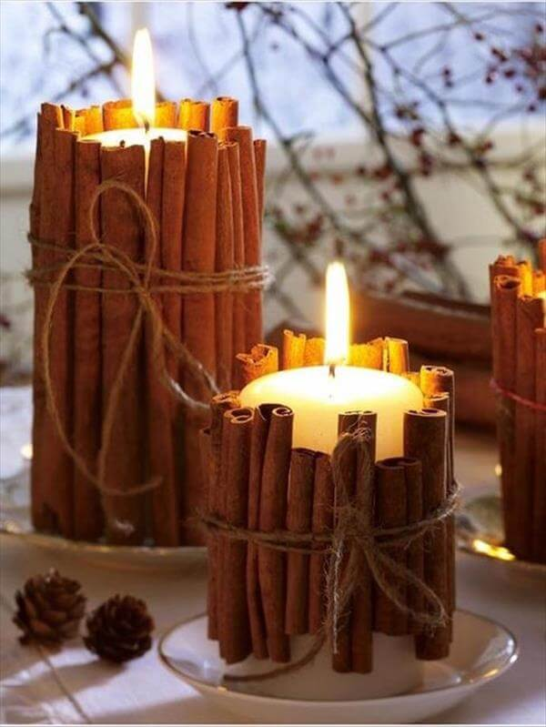 handmade cinnamon sticks candle pillars
