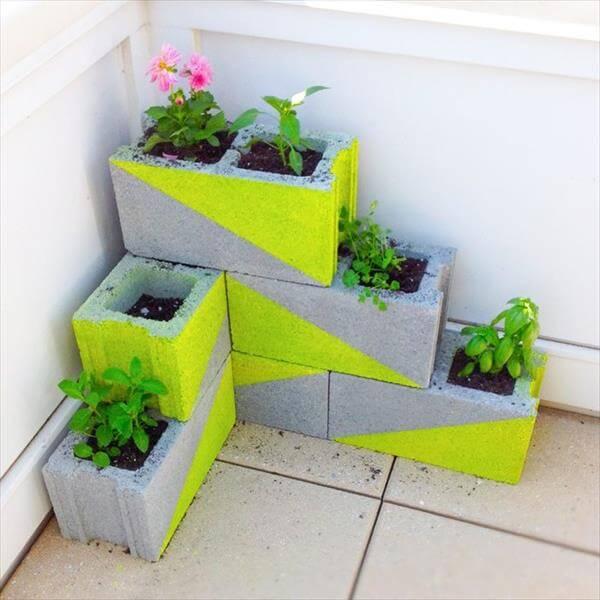 self made concrete blocks garden