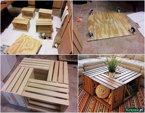 diy reclaimed crate coffee table