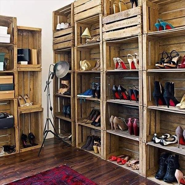 reclaimed crates shoes organizer