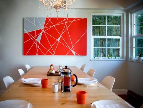 diy hand painted modern lines wall art