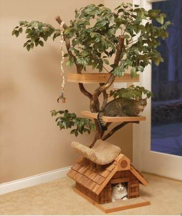 recycled wood cat house idea