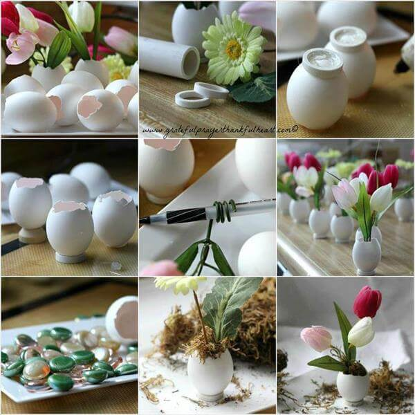 diy egg flower holder makeover