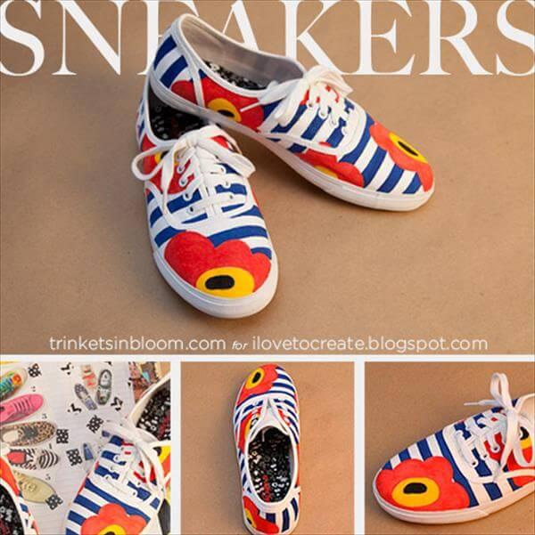 diy handmade floral sneakers