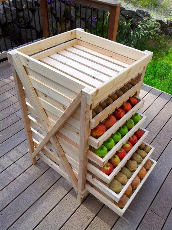 recycled pallet food storage shelves