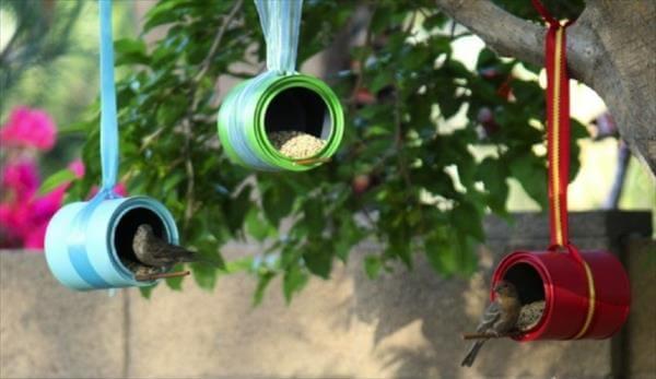 handcrafted garden bird feeders