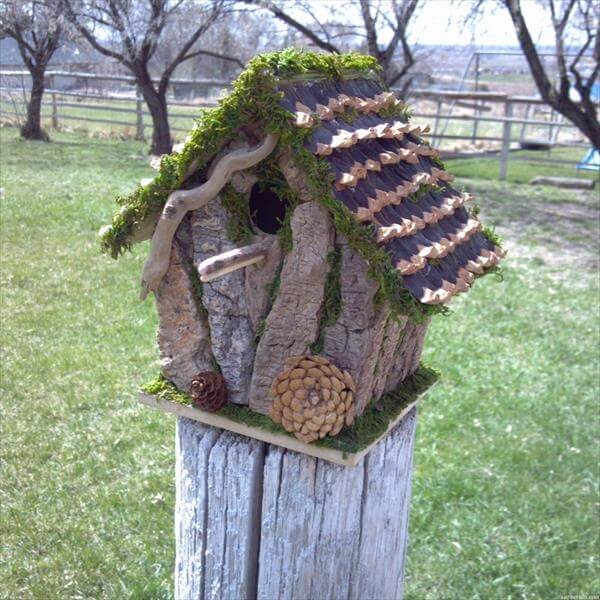 upcycled garden birdhouse