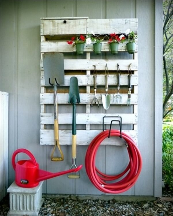 recycled pallet garden tool rack