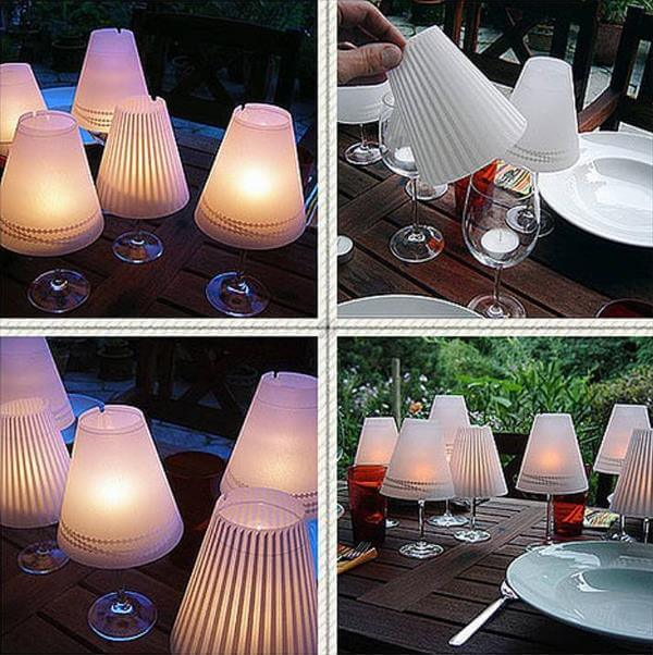 self made glass candle lamps