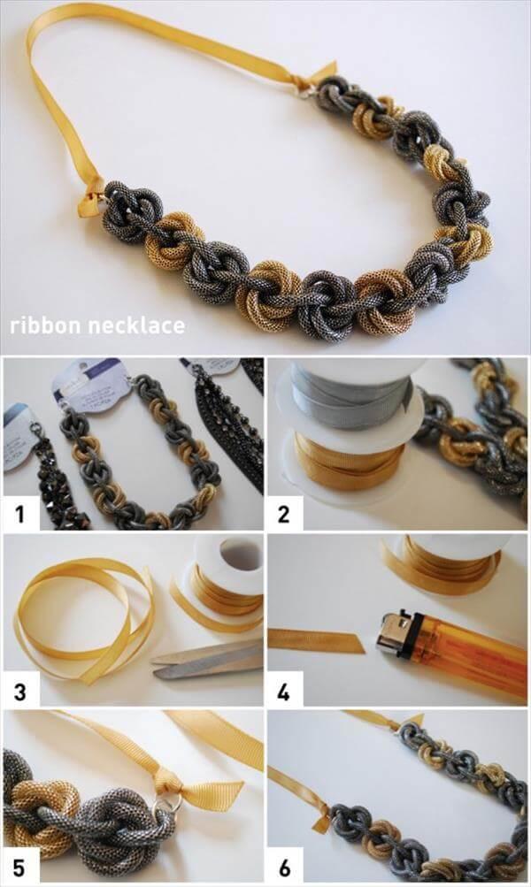 diy grograin ribbon necklace idea