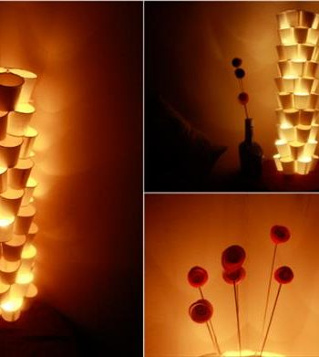 diy lamp out of paper cups