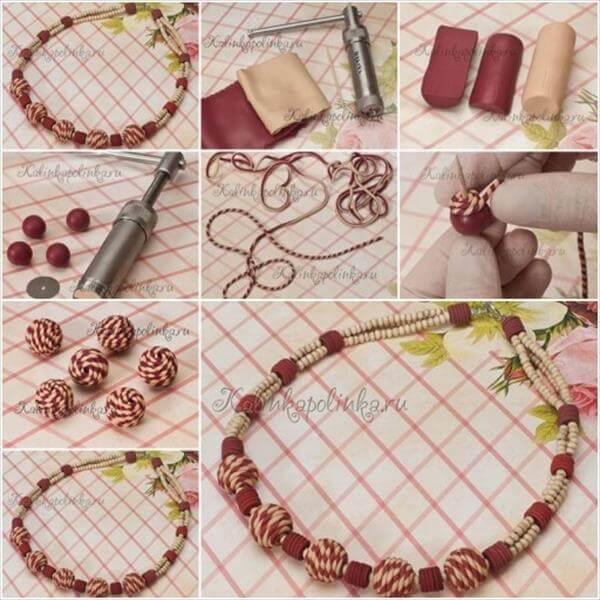 diy creative clay bead necklace