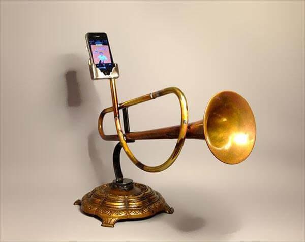 diy brass trumpet iphone amplifier