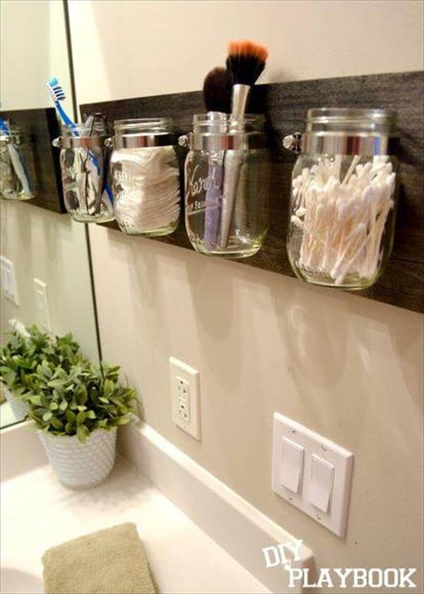 homemade mason jar storage idea