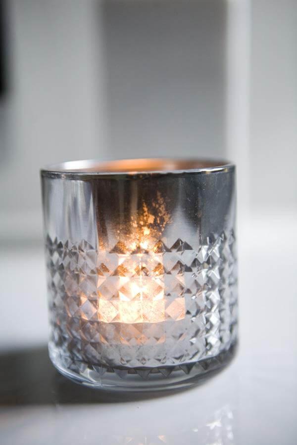 diy self made mercury glass candle holder