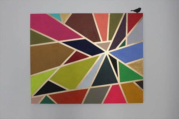 diy hand painted block wall art