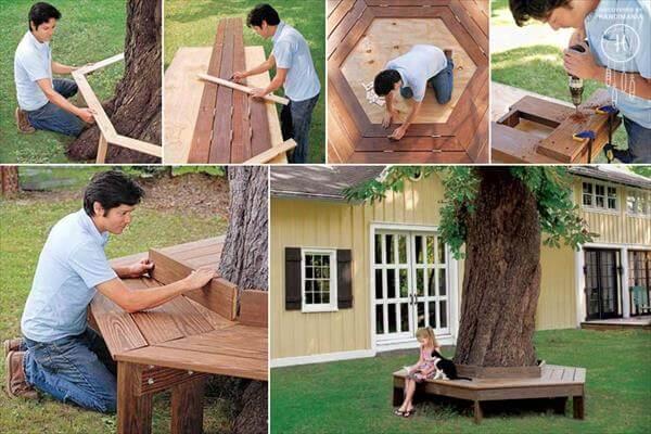 repurposed pallet hexagonal tree bench