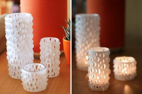 diy paper wrapped candle holder