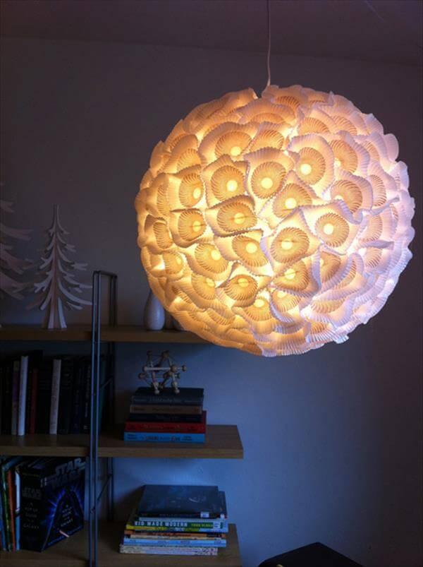 diy hand crafted doily lantern