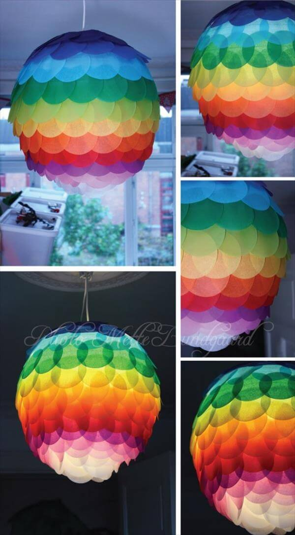 diy multiple color paper lamp