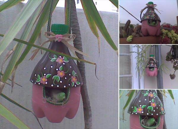diy recycled bottle parrot house