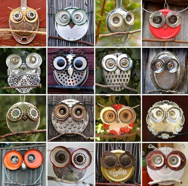 diy recycled owl faces