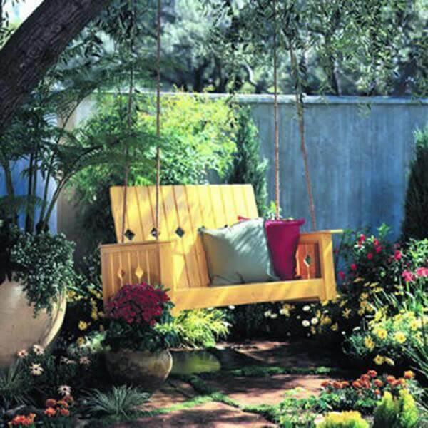 reclaimed wooden garden swing