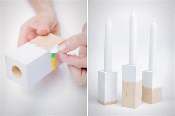 diy self prepared scalloped block candle holder