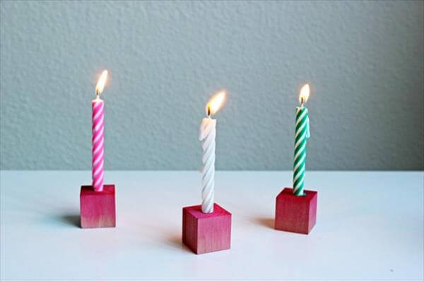 diy little wooden block candle holders