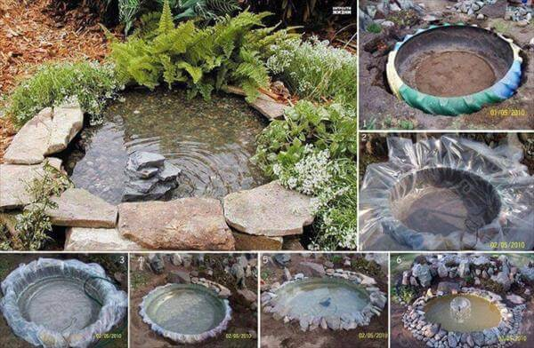 recycled old tire fountain lake